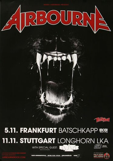 Airbourne - Live It Up, Frankfurt & Stuttgart 2014 - Konzertplakat