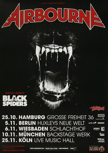 Airbourne - Black Dog Barking, Tour 2013 - Konzertplakat