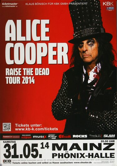 Alice Cooper - Raise The Dead, Mainz 2014 - Konzertplakat