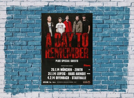 A Day To Remember - City Of Ocala, Tour 2014 - Konzertplakat