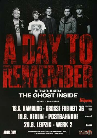 A Day To Remember - Right Back At It, Tour 2013 - Konzertplakat