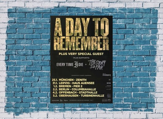 A Day To Remember - Common Courtesy, Tour 2014 - Konzertplakat