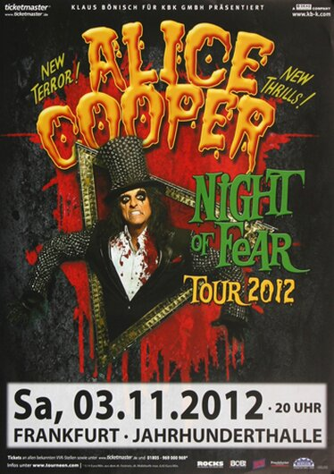Alice Cooper - Night Of Fear, Frankfurt 2012 - Konzertplakat