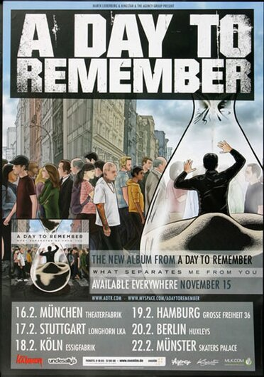 A Day To Remember - Me From You, Tour 2008 - Konzertplakat