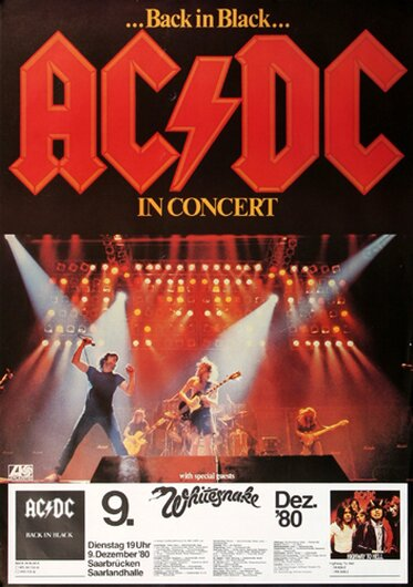 AC/DC - Back In Black, Saarbrücken 1980 - Konzertplakat