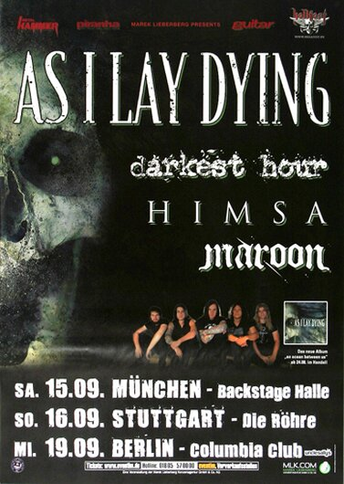 As I Lay Dying - Between As, Tour 2007 - Konzertplakat