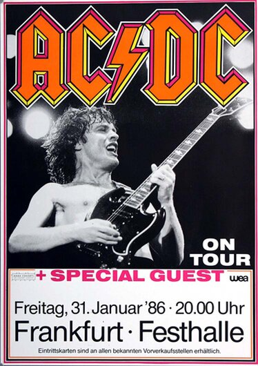 AC/DC - Fly On The Wall, Frankfurt  1986 - Konzertplakat