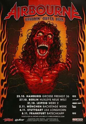 Airbourne - Breakin Outta Hell, Tour 2017 - Konzertplakat