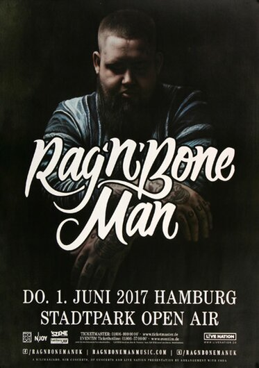 Rag´n Bone Man - The Overproof , Hamburg 2017 - Konzertplakat